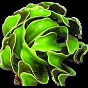 Enamel 1960's Flower Power Large Bright Green Brooch Pin