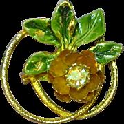 Eye Glass Holder Rhinestone Enamel Pin Brooch