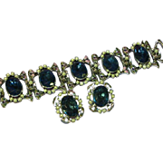 Huge Sapphire Blue Rhinestone and Pearl Bracelet and Earrings Set Demi Parure
