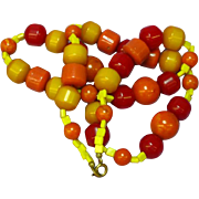 "Flamboyant All Bakelite Bold Bead 22"" Necklace"