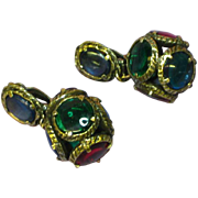 Gripoix Glass Chunky Poured Glass  Cabochon Dangle Clip Earrings
