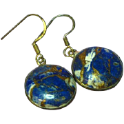 Sodalite Infused with Copper & Pyrite Sterling Silver Pierced Dangle Earrings