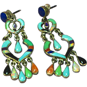 SALE Zuni Inlay Sterling Silver Opal Link Dangle Earrings Pierced Post Signed