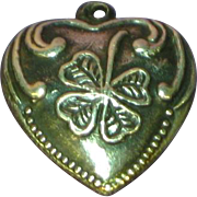 Puffy Heart Victorian Repousse Four Leaf Clover on 1940's Romantic Sterling Charm