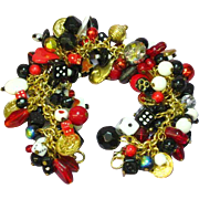 SALE Gamblers Dream Loaded Black Red White Charm Bracelet