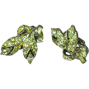 Coro Silver tone Rhinestone Clip Earrings