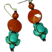 Southwestern Style Turtle and Pipe Stone Drop Pierced Earrings