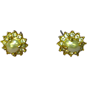 Rhinestones Faux Pearl Stud Pierced Earrings