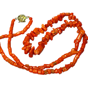 SALE Coral Early Single Strand Museum Quality Mediterranean Sardinian Coral with Sterling Silv