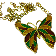 Celebrity Marked Plique à Jour Enamel Enchanting Large Gold-tone Butterfly Pendant Necklace
