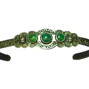 Fred Harvey Stamped Arrows Snakes Mountains Green Turquoise Bracelet