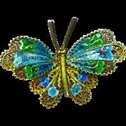 Enamel Beautiful Vintage 800 Silver Vermeil Chinese Butterfly Pin Brooch