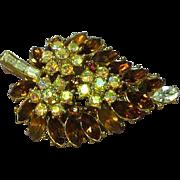 SALE Crown Trifari Golden Topaz Rhinestone Pin Brooch