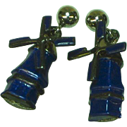 Enamel Cobalt Blue Sterling Silver Moving Wind Mill Pierced Earrings