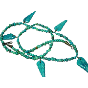 SALE Native American Indian Chrysocolla and Turquoise Eilat Carved Leaf Bead Necklace