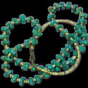 Turquoise Single Strand Vintage American Indian Santo Domingo Pueblo Shell Heshi Ceremonial Ne