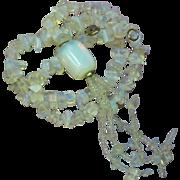 Opaline Opalite Glass Bead Tassel Necklace