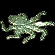 Octopus Sterling Silver Pin  Brooch