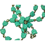 Molded Art Glass Kitty Cat Turquoise Bead and Sterling Silver Cross Beads Necklace