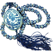 Chinese Porcelain Spool Beads Dragon Vintage Oriental Necklace
