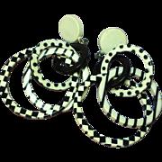 Lucite MOD Swinger Black & White Go Go Large  Hoop Pierced Earrings