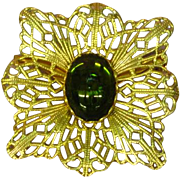 Coro Filigree Gold tone Art Glass Pin Brooch