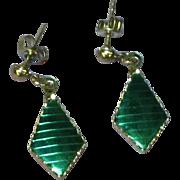 Green Iodized Metal Silver Pierced Earrings