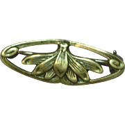 Art Nouveau Sterling Silver Marked Lotus Blossom Pin Brooch