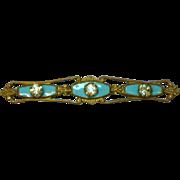 Enamel Wonderful Baby Blue 1930's Rhinestone Bar Pin