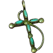 Native American Indian Sterling Silver Petite Point Turquoise Cross Charm or Pendant
