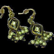 Enamel Black Vintage Seed Pearl 3-D Chandelier Pierced Earrings