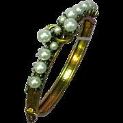 Florenza Signed  Faux Pearl Hinged Brass Bangle Bracelet