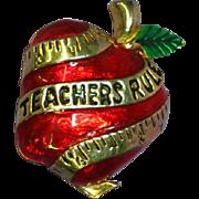 Enamel Red Apple Teachers Rule AAi Jewelry Pin Brooch