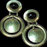 Designer Signed 1989 Huge Onyx Sterling Silver Dangle Pierced Earrings