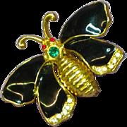 Enamel Black Butterfly Rhinestones Gold Tone Pin Brooch