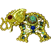 Juliana Verified D&E Turquoise Moroccan Painted Cabochon  Gripoix Glass Elephant Ball & Chain