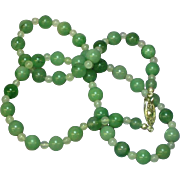 SOLD Jade Celadon Jadeite Jade Bead Spectacular  Necklace