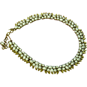 Crown Trifari Marked Fabulous Faux Pearl and Gold Tone Choker Necklace