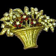 Crown Trifari Marked Gripoix Ruby Glass Flower Basket Rhinestone Brooch Pin