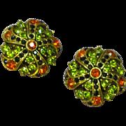 Coro Pegasus Marked Rhinestone Embellished Clip Earrings