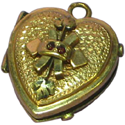 Antique Victorian 10K Gold Genuine Rose Cut Garnets Heart Locket Fob Charm Pendant
