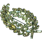 Rhinestones Glorious Bright Clear Large Laurel Leaf Designer Brooch Pin