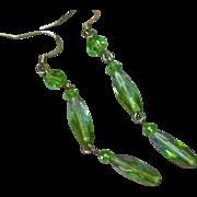 Faceted Green Peridot Crystal Dangle Drop Sterling Silver Pierced Earrings