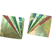 Laminated Mother of Pearl Colorful Square Shell Clip Earrings