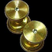Art Nouveau 14K Gold Diamond Repousse Female Male Cuff Links