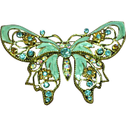 """Enamel and Rhinestones Very Large 3"""" Butterfly Pin Brooch"""