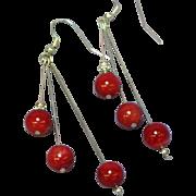 Coral Mediterranean Red Sterling Silver 8 mm Large Bead Dangle Pierced Earrings