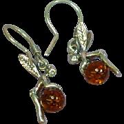 Tinkerbell 3-D Amber Genuine Natural Dark Honey Sterling Silver Pierced Dangle Earrings