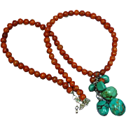 Vibrant Vintage Coral with Turquoise Coral Pendant Bead Sterling Silver Necklace