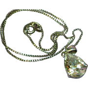 Crystal Large Tear Drop Ultimately Brilliant Sterling Silver CZ Necklace